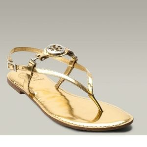 Tory Burch Gold Slingback Ali Leather Sandals